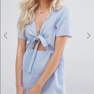 Missguided Tie Front Striped Romper